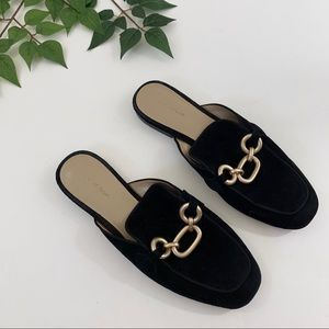 Ann Taylor Gold Chain Loafer Mules Black 7